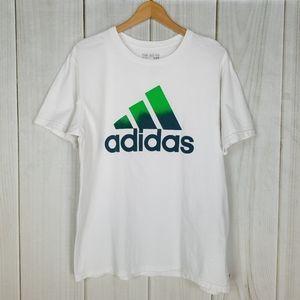 Adidas The Go-To Tee, White Tee Green Logo